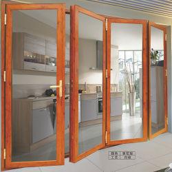Janelas e Portas Foshan Material de construção moderna Casa Exterior Varanda Francesa Entrada Pátio de alumínio deslizando a dobragem Bulletproof porta Bi de vidro