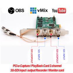 Scheda di bloccaggio dell'input di PCI-E2SL 3G-SDI, 2CH Input/2CH Loopout 1080P/60Hz Vmix/Xsplit/scheda effluente in tensione del magnetoscopio gioco di Vlc/Virtualdub/Vidblaster/Obs