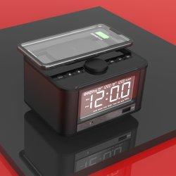 Drahtloser aufladenFM RadioBluetooth Alarmuhr-Minilautsprecher laute bewegliche Multimedia Stereo-USB-Freisprechwarnungqi-