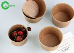 1000ml jetables en papier kraft personnalisés bol à salade avec couvercles