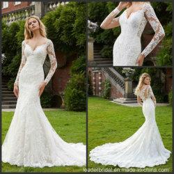 Langes Hülsen-Brautkleid-kundenspezifisches moslemisches Nixe-Spitze-Hochzeits-Kleid M2040