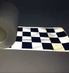 De waarschuwende Geruite Afgedrukte Blauwe/Zwarte Zilveren Weerspiegelende die Band van de Waarschuwing van het Broodje van de Stof voor Kleding/Zakken op Type worden genaaid