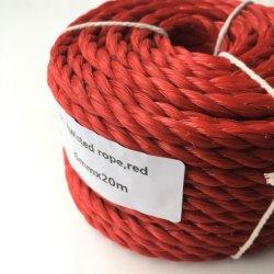 Corda Twisted resistente del polipropilene di colore rosso 6mmx20m che fa galleggiare la riga sicura di campeggio riga di navigazione della corda di barca della corda dei pp di vestiti