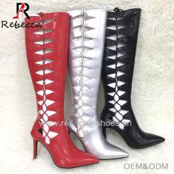 Stiletto haut de cuisse de longues bottes Fashion creux du genou respirante Strappy supérieure à lacets de bottes bottes sexy Mesdames Street
