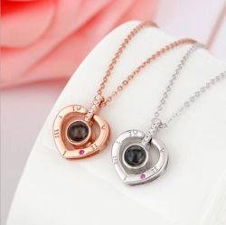 Neueste Gold&Silver 100 Sprachich liebe dich kundenspezifische Frauen-Halskette der Form-Halsketten-Schmucksache-Zubehör-18K