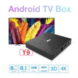 T9 de vierling-Kern 4K HD WiFi Bt4.0 van de Doos Androïde 8.1 4GB 32GB Rk3328 van TV Slimme TV van de Doos van Netflix Youtube van de Opslag van het Spel van Google van de Doos van TV USB3.0 4K