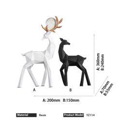 Fashion Home Black White Deer Couple Design scultura decorazione per Natale