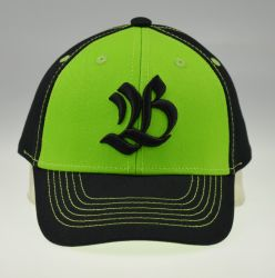 BSCI Verde Negro atleta de contraste de la tapa de Deporte de algodón bordado en 3D.