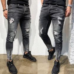 Männer zerrissen beiläufiger kleiner männlichen die Fuss-Reißverschluss-dünnen Jeans