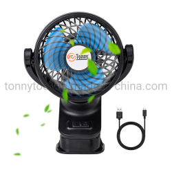 Tonny Mini Clip portátil Ventilador con batería recargable de 360 grados USB Ventilador oscilante para Escritorio Dormitorio