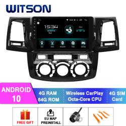 """Witson Android 10 автомобильной аудиосистеме для Toyota 2012 Хайлюкс"""" Руководства кондиционер версии 4 ГБ оперативной памяти 64Гб флэш-памяти большой экран"""