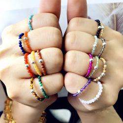 Il branello della Boemia squilla l'elastico Handmade degli anelli di cerimonia nuziale delle ragazze delle donne dei regali di modo colore di pietra naturale dei monili di multi registrabile