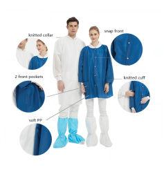 편안한 Uniform Uniform Non Woven Disposable Medical Jacket Blue White SMS 병원용 랩 코트