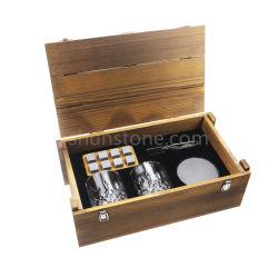 Preço de venda por grosso de pedras de uísque de definir, granito e rochas de whisky de refrigeração + 2 óculos de tiro de Cristal, acessórios de Barra Premium