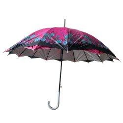 실버 코팅이 된 23인치 더블 레이어 대각선 꽃 자동 우산 UV 차단