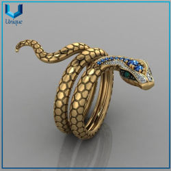 Rojo joyas personalizadas de alta calidad gran piedra de zirconio Hip Hop creativo único anillo de dedo de la Serpiente, acero inoxidable Anillo de Oro para el recuerdo de la moda militar regalos