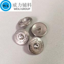 니켈 색깔에 있는 다이아몬드를 가진 주문 획일한 단추