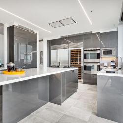 Custom бесплатный дизайн глянцевый лак 2 PAC модульный современной MDF деревянные кухонные шкафы