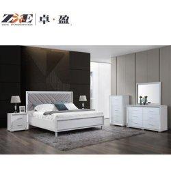 Insieme di camera da letto rispecchiato colore bianco domestico lucido moderno della mobilia del MDF alto