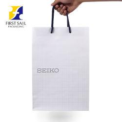 Alta Qualidade Prata impresso estampado quente saco de papel de algodão azul Corda Saco de papel