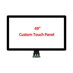 مخصص OEM فائق الحجم بحجم 49 بوصة، وذات إطار مفتوح، يتم عرض PCAP لوحة مستشعر شاشة متعددة تعمل باللمس Capasive مع واجهة USB لـ شاشة LCD للتوصيلات البصرية بسعر منخفض