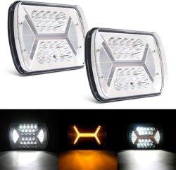 5x7 LED トラックライトスーパーブライト 144 W ホワイト + H 型 橙色マーカー /DRL 長方形 H6054 7X6 トラックランプ H4 9003 プラグ 6054 H5054 Chevy S10 Blazer ヴァン Wrangler のため
