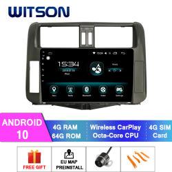 Witson Android 10 Lecteur de DVD de voiture GPS pour Toyota 2011-2013 Prado 4 Go de RAM 64 Go de mémoire Flash grand écran dans la voiture lecteur de DVD