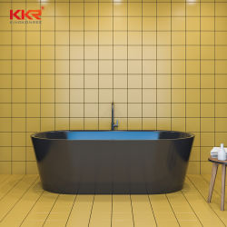 Großhandelspreis-tränkende Hotel-freistehende künstliche schwarze Steinbadewanne