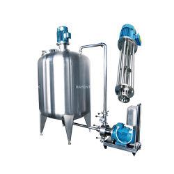 Plástico con acero inoxidable sanitario certificado CE 304 316 forrados de inclinación de la tetera con agitador mezclador emulsificador