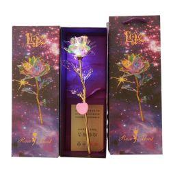Crystal Galaxy rose fleur avec chaîne de lumière LED multicolore chaud- anniversaire Les Cadeaux pour les amies les femmes MOM