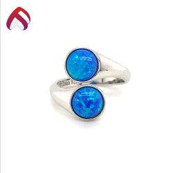 Novo Design 925 Sterling Silver Opal Jóias Anel de moda com ficha Redonda azul Opal Pedras para Dom