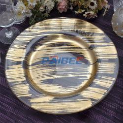 Folha de ouro a placa do carregador de vidro decoração de vidro para casamentos e eventos da placa de jantar de vidro de aluguer