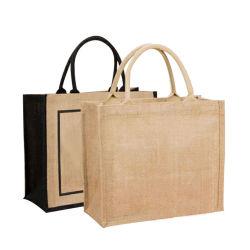 맞춤형 로고 자연스런 버랩 친환경 재활용 캔버스 비 우븐 토트백 재사용이 가능한 식료품 쇼핑 백
