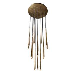 Роскошный раунда линейных твердых латунные хрустальная люстра подвесной светильник