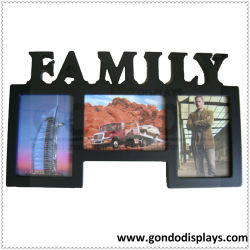 Bureau de vente chaude Custom moderne décoration maison Tabletop monté sur un mur photo sculpté en bois MDF Picture Frame Craft avec panneau en acrylique