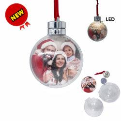 Premium Clear Photo de plástico de 8 cm de la bola con LED