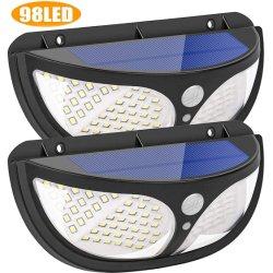 Lampada da parete a LED a energia solare 98 LED con PIR Motion Sensore per luce da giardino per percorsi esterni