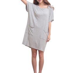 Tissu de bambou confortable Pocket Custom Robe de nuit de sommeil T-Shirt Tees Mesdames robe de vêtements de nuit Pyjama Salon Femmes d'usure