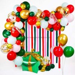 Feliz Navidad Candy Candy Cane presente Foil Latex Confetti Balloon Chain Arch Garland Crepe papel fondo decoración conjunto de suministros de fiesta