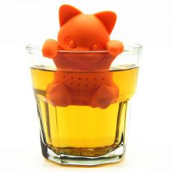 100% Grau Alimentício FDA aprovou o silicone Cat Tea Infuser, as folhas de chá de Silicone Infuser