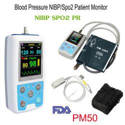 Pm50 Ambulance Moniteur Patient Portable multi-paramètres de la pression artérielle Signes vitaux de la pni SpO2 pr brassard de compteur