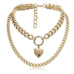Halsband van de Lagen van het Medaillon van het Hart van de Doos van de Fase van de Keten van de Juwelen van de manier de Eenvoudige Hangende Multi