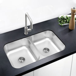 Undermount 0028Un grand bol Double lavabos en acier inoxydable 304 puits du bassin de la cuisine moderne de la cuisine