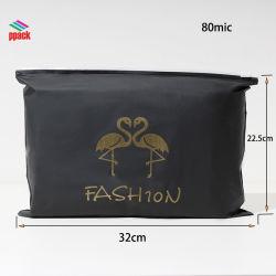 نماذجُ مجّانًا! 10 سنون مصنع خبرة [لدس] أسود لامعة مع نوع ذهب يطبع لباس أكياس [زيب لوك] يجعل في الصين صناعة