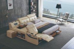 モダンなマッサージ無垢材のホームベッドルームのソファ、ダブルベッド、キングサイズのベッド サウンドストロングボックス空気清浄器付き