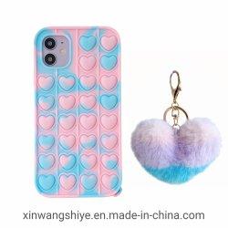 2021 شكل القلب keychain الهاتف المحمول غلاف سيليكون الهاتف علبة خاصة بجهاز iPhone 6 7 8 X XS XR 11 12 PRO بحد أقصى