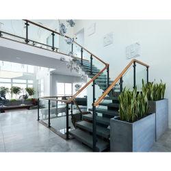 Aço interior Feixe Central Space Saver Madeira escada reta