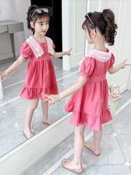 아이들과 유아를 위한 소녀 여름 우연한 Sundress 동안 최신 면 복장은 물결이 일게했다. 아이 착용. 소녀 옷. 아이들 옷