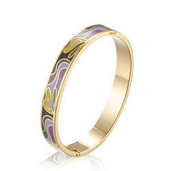 Pulseras de acero inoxidable de alta calidad personalizado Metal esmalte cloisonné hermosas pulseras brazalete de metal de diseño personalizado de la mujer