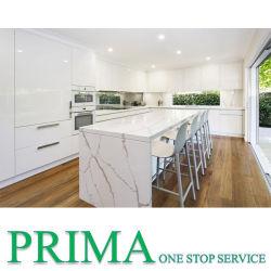 Модные глянцевые водонепроницаемым лаком белый кухонные шкафы с островным